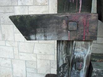 Deterioramento del legno dovuto alla presenza di muffe, carie bianca, croste nere e licheni.