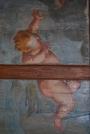 Palazzo Mattei di Paganica. Soffitto ligneo dipinto. Particolare.