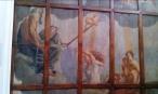 Palazzo Mattei di Paganica. Soffitto ligneo di una sala dell'Istituto dell'Enciclopedia italiana. 24 tavole dipinte unite da una grata di legno.